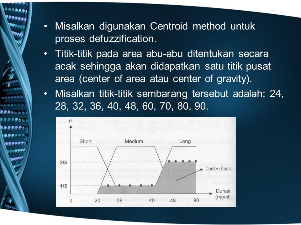 Misalkan digunakan Centroid method untuk proses defuzzification. Titik-titik pada area abu-abu ditentukan secara acak sehingga akan didapatkan satu ti