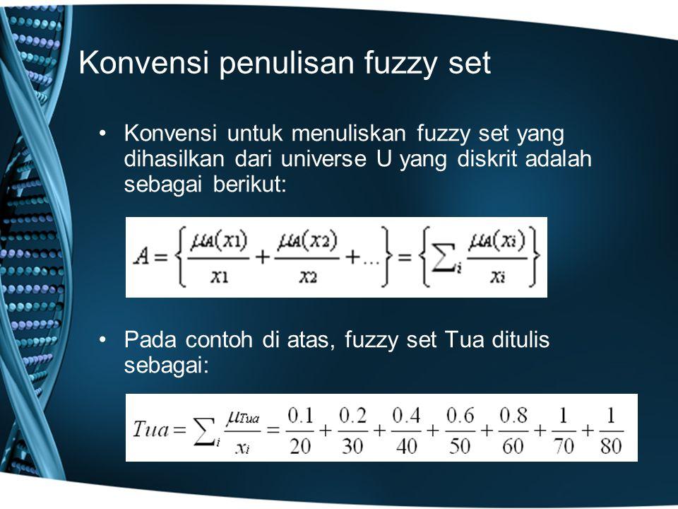 Konvensi penulisan fuzzy set Konvensi untuk menuliskan fuzzy set yang dihasilkan dari universe U yang diskrit adalah sebagai berikut: Pada contoh di a