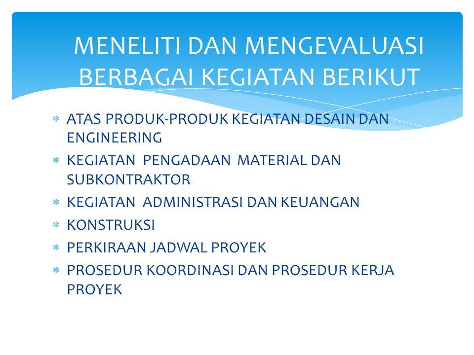  ATAS PRODUK-PRODUK KEGIATAN DESAIN DAN ENGINEERING  KEGIATAN PENGADAAN MATERIAL DAN SUBKONTRAKTOR  KEGIATAN ADMINISTRASI DAN KEUANGAN  KONSTRUKSI  PERKIRAAN JADWAL PROYEK  PROSEDUR KOORDINASI DAN PROSEDUR KERJA PROYEK MENELITI DAN MENGEVALUASI BERBAGAI KEGIATAN BERIKUT