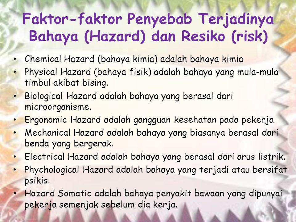 Faktor-faktor Penyebab Terjadinya Bahaya (Hazard) dan Resiko (risk) Chemical Hazard (bahaya kimia) adalah bahaya kimia Physical Hazard (bahaya fisik)