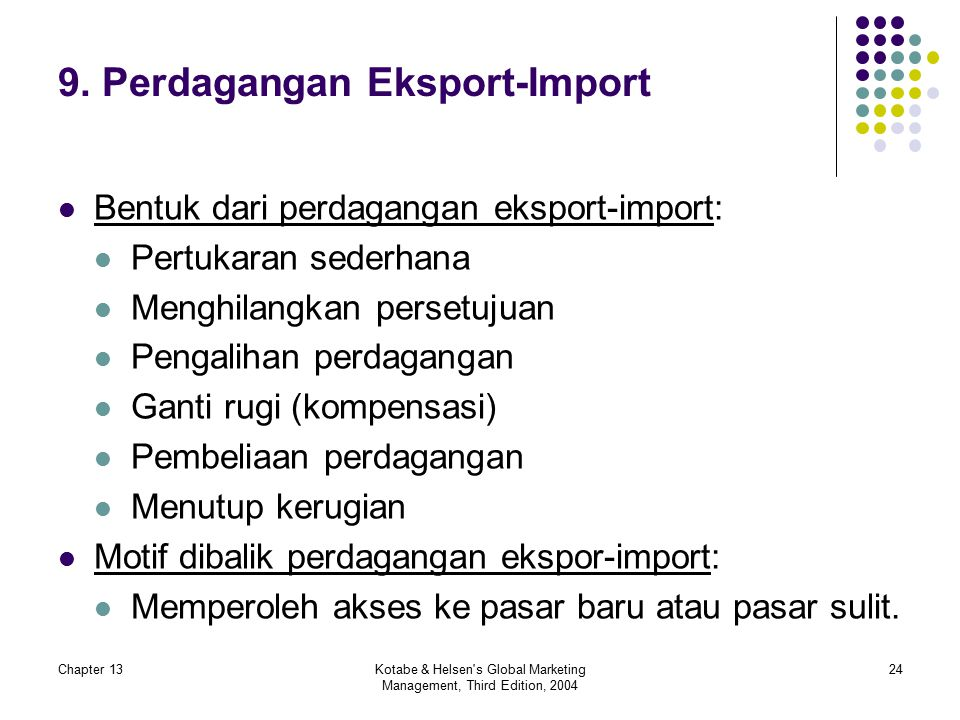 Chapter 13Kotabe & Helsen's Global Marketing Management, Third Edition, 2004 24 9. Perdagangan Eksport-Import Bentuk dari perdagangan eksport-import: