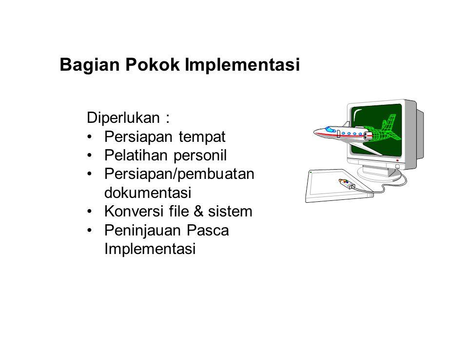 Bagian Pokok Implementasi Diperlukan : Persiapan tempat Pelatihan personil Persiapan/pembuatan dokumentasi Konversi file & sistem Peninjauan Pasca Imp