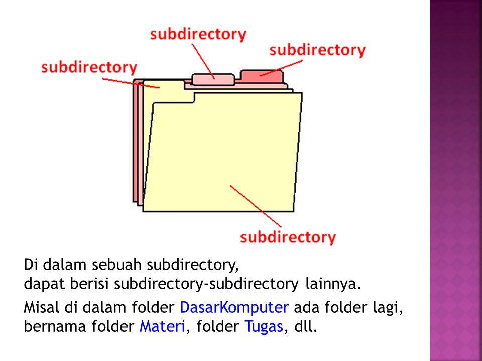 Di dalam sebuah subdirectory, dapat berisi subdirectory-subdirectory lainnya. Misal di dalam folder DasarKomputer ada folder lagi, bernama folder Mate