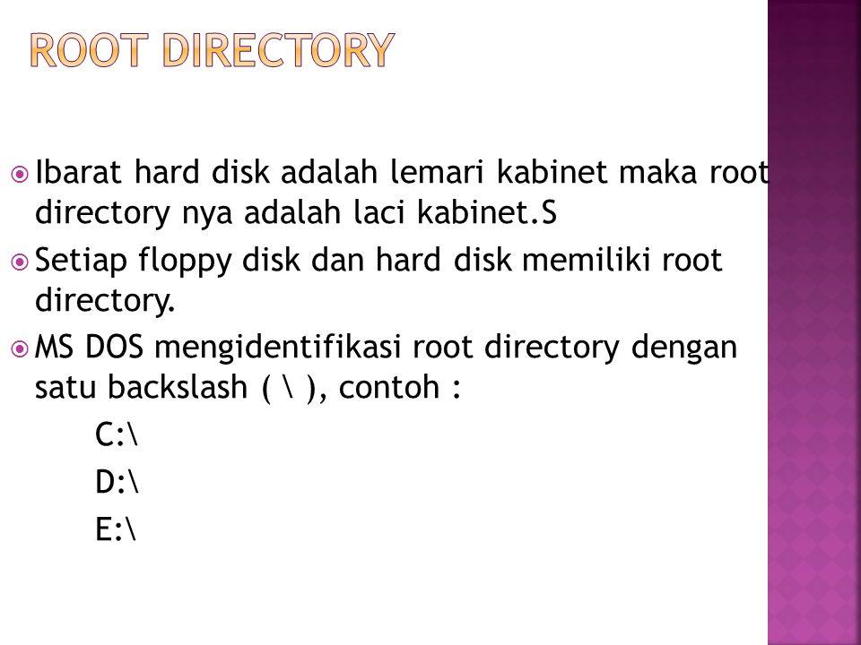  Ibarat hard disk adalah lemari kabinet maka root directory nya adalah laci kabinet.S  Setiap floppy disk dan hard disk memiliki root directory.  M