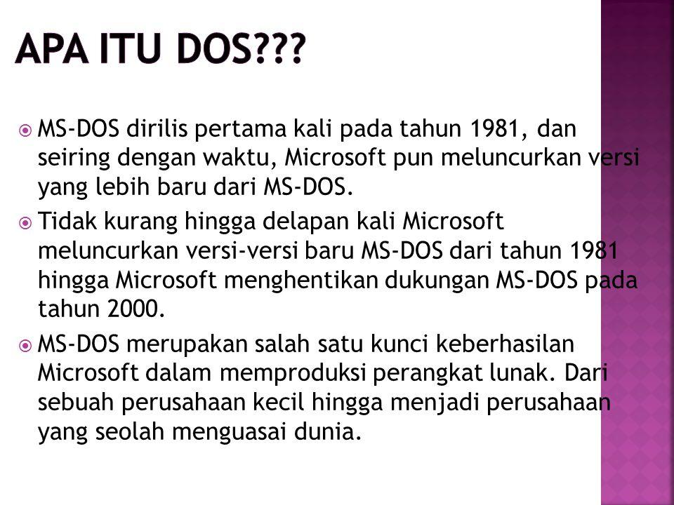  MS-DOS dirilis pertama kali pada tahun 1981, dan seiring dengan waktu, Microsoft pun meluncurkan versi yang lebih baru dari MS-DOS.  Tidak kurang h