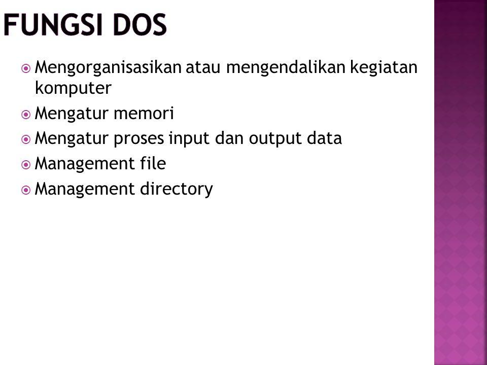  Mengorganisasikan atau mengendalikan kegiatan komputer  Mengatur memori  Mengatur proses input dan output data  Management file  Management dire