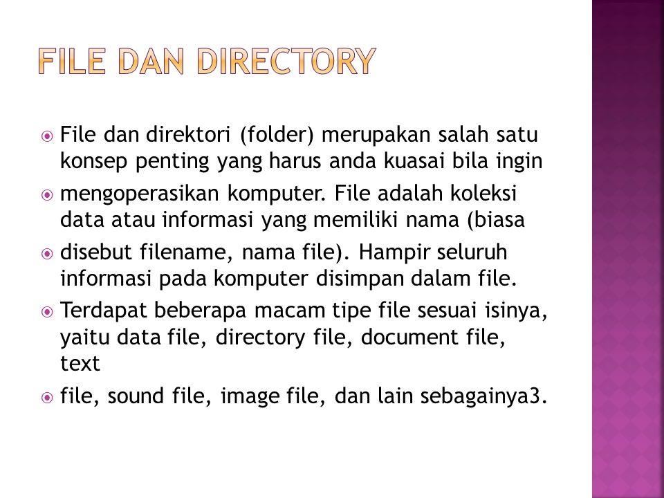  File dan direktori (folder) merupakan salah satu konsep penting yang harus anda kuasai bila ingin  mengoperasikan komputer. File adalah koleksi dat
