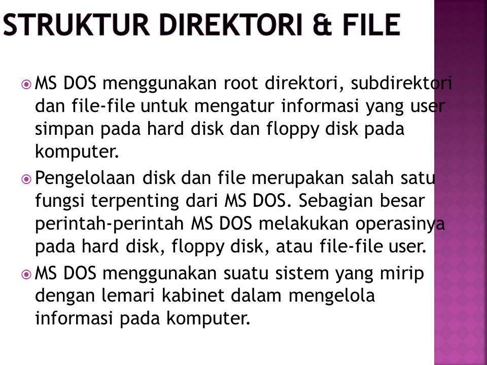  MS DOS menggunakan root direktori, subdirektori dan file-file untuk mengatur informasi yang user simpan pada hard disk dan floppy disk pada komputer