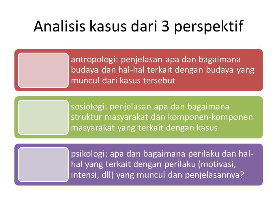 Analisis kasus dari 3 perspektif antropologi: penjelasan apa dan bagaimana budaya dan hal-hal terkait dengan budaya yang muncul dari kasus tersebut so