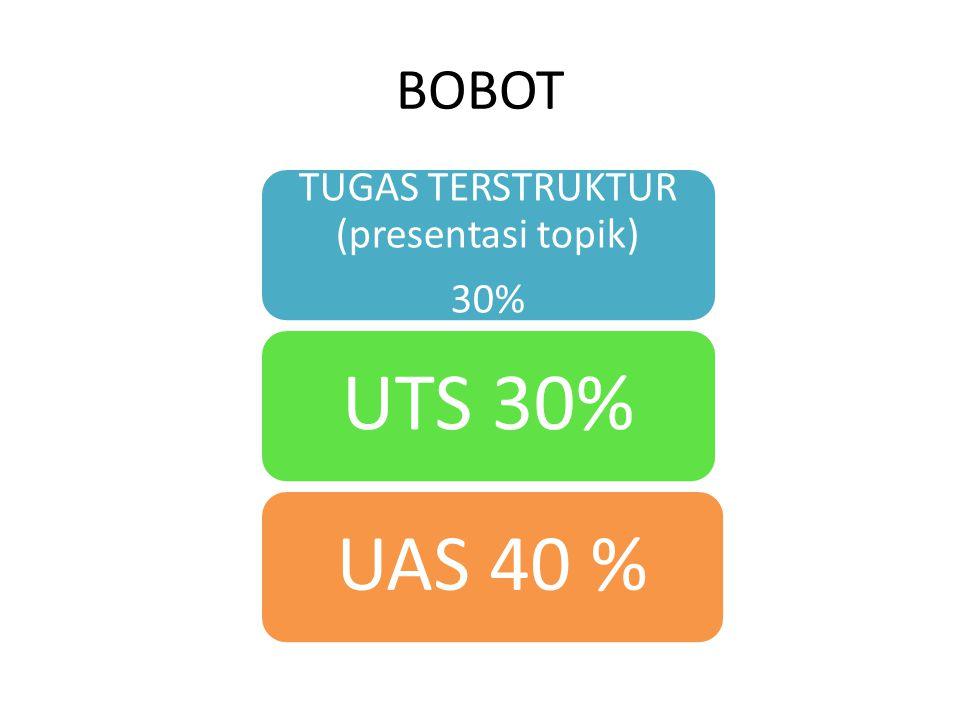 BOBOT TUGAS TERSTRUKTUR (presentasi topik) 30% UTS 30% UAS 40 %