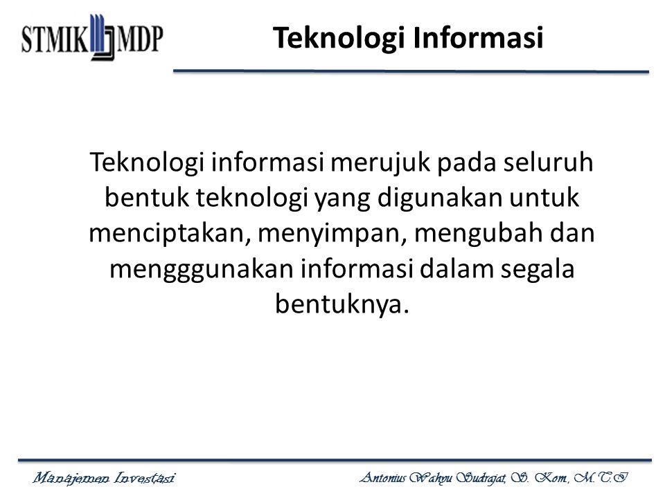 Manajemen Investasi Antonius Wahyu Sudrajat, S.Kom., M.T.I Komponen Biaya Menurut Frederick H.