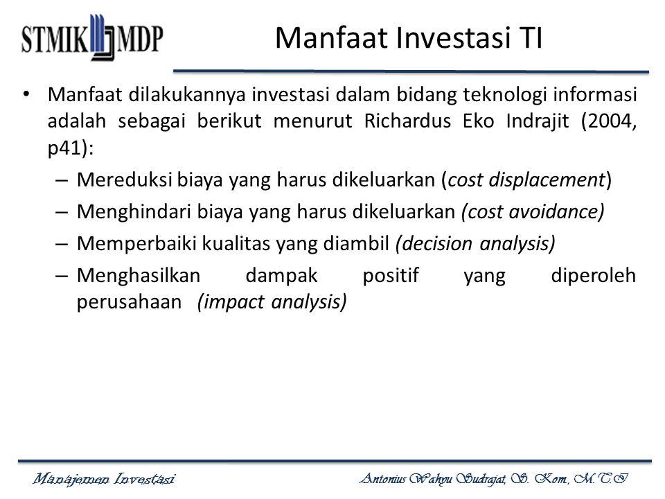 Manajemen Investasi Antonius Wahyu Sudrajat, S. Kom., M.T.I Analisis Return on Investment (ROI)