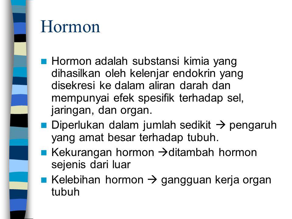 Hormon Hormon adalah substansi kimia yang dihasilkan oleh kelenjar endokrin yang disekresi ke dalam aliran darah dan mempunyai efek spesifik terhadap sel, jaringan, dan organ.