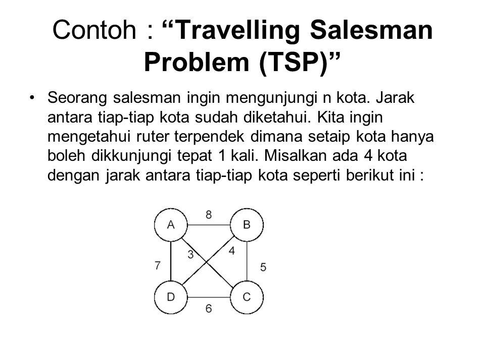 """Contoh : """"Travelling Salesman Problem (TSP)"""" Seorang salesman ingin mengunjungi n kota. Jarak antara tiap-tiap kota sudah diketahui. Kita ingin menget"""