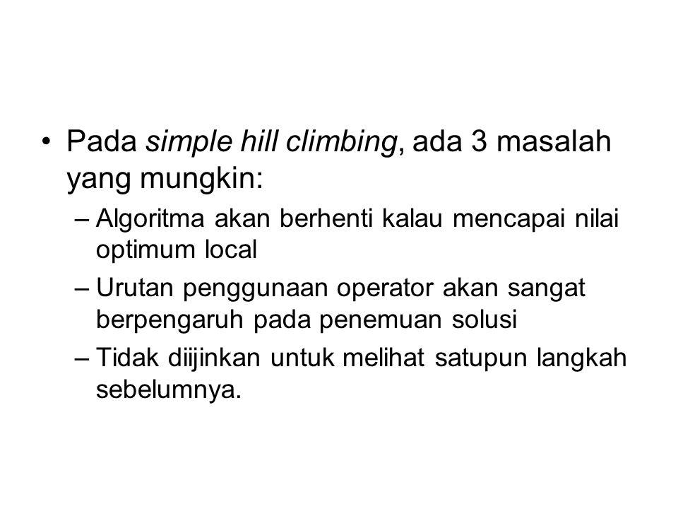 Pada simple hill climbing, ada 3 masalah yang mungkin: –Algoritma akan berhenti kalau mencapai nilai optimum local –Urutan penggunaan operator akan sa