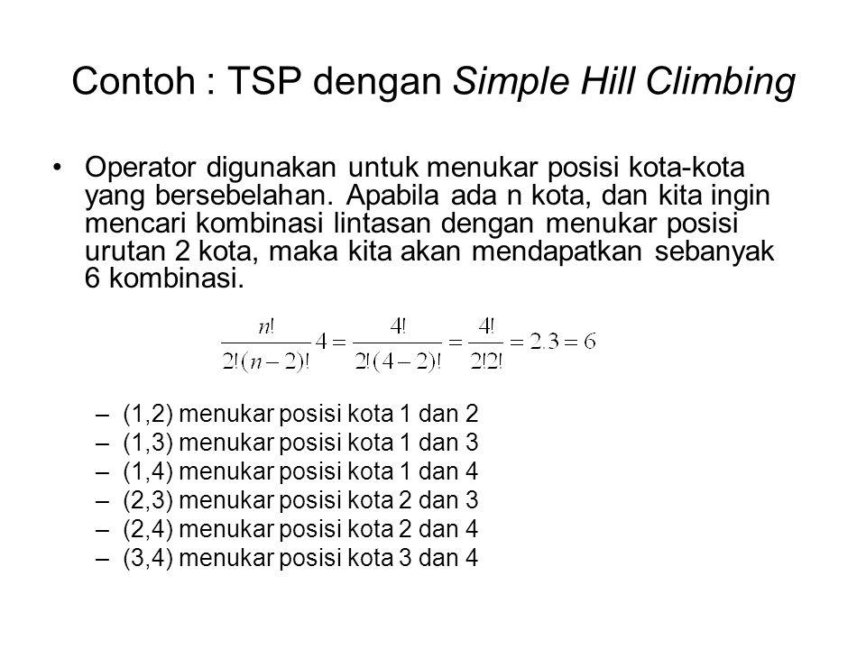 Contoh : TSP dengan Simple Hill Climbing Operator digunakan untuk menukar posisi kota-kota yang bersebelahan. Apabila ada n kota, dan kita ingin menca