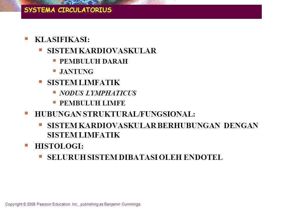 SYSTEMA CIRCULATORIUS  KLASIFIKASI:  SISTEM KARDIOVASKULAR  PEMBULUH DARAH  JANTUNG  SISTEM LIMFATIK  NODUS LYMPHATICUS  PEMBULUH LIMFE  HUBUNGAN STRUKTURAL/FUNGSIONAL:  SISTEM KARDIOVASKULAR BERHUBUNGAN DENGAN SISTEM LIMFATIK  HISTOLOGI:  SELURUH SISTEM DIBATASI OLEH ENDOTEL