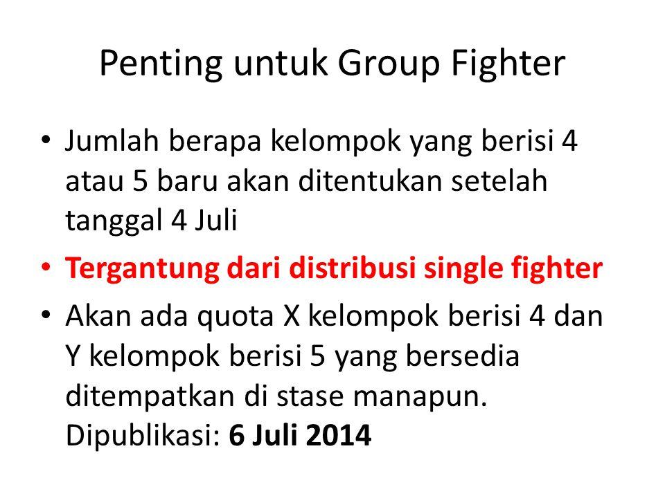 Penting untuk Group Fighter Jumlah berapa kelompok yang berisi 4 atau 5 baru akan ditentukan setelah tanggal 4 Juli Tergantung dari distribusi single fighter Akan ada quota X kelompok berisi 4 dan Y kelompok berisi 5 yang bersedia ditempatkan di stase manapun.