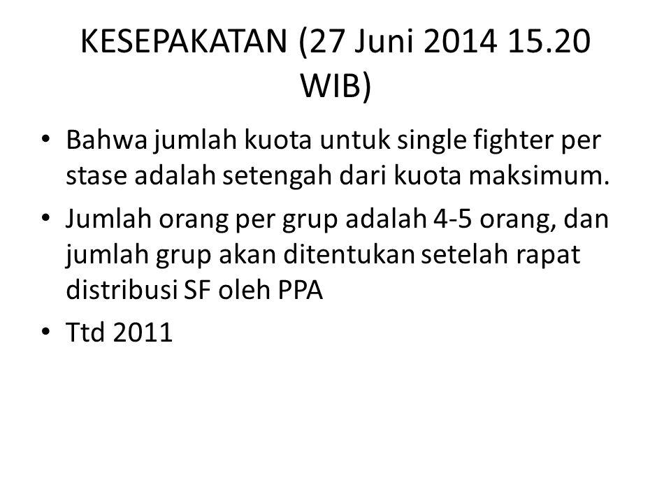 KESEPAKATAN (27 Juni 2014 15.20 WIB) Bahwa jumlah kuota untuk single fighter per stase adalah setengah dari kuota maksimum.