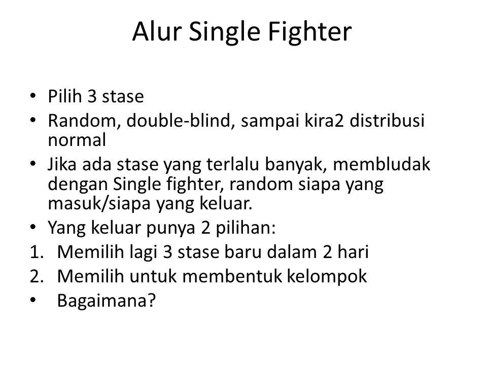 Alur Single Fighter Pilih 3 stase Pilih bergabung dengan kelompok Pilih 3 stase baru dalam 2 hari SF yang tidak masuk stase pilihan Pengundian SF yang masuk/tidak Distribusi melebihi quota per stase Distribusi Normal Masuk list single fighter