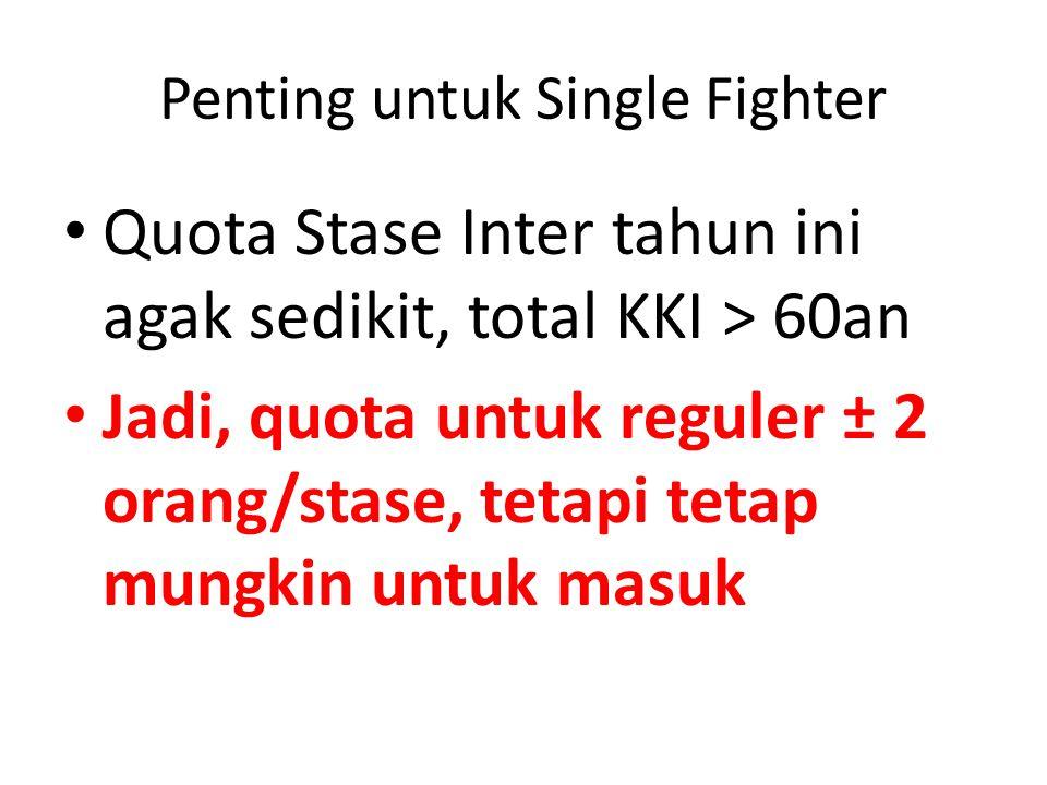Penting untuk Single Fighter Quota Stase Inter tahun ini agak sedikit, total KKI > 60an Jadi, quota untuk reguler ± 2 orang/stase, tetapi tetap mungkin untuk masuk