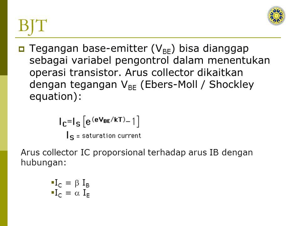 BJT  Tegangan base-emitter (V BE ) bisa dianggap sebagai variabel pengontrol dalam menentukan operasi transistor.