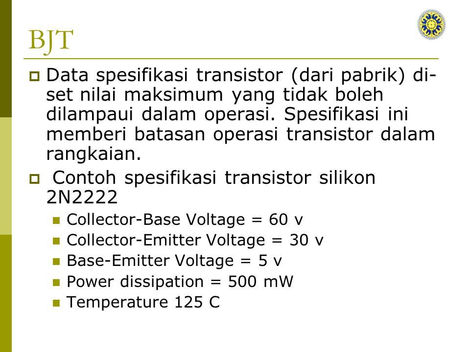 BJT  Data spesifikasi transistor (dari pabrik) di- set nilai maksimum yang tidak boleh dilampaui dalam operasi.