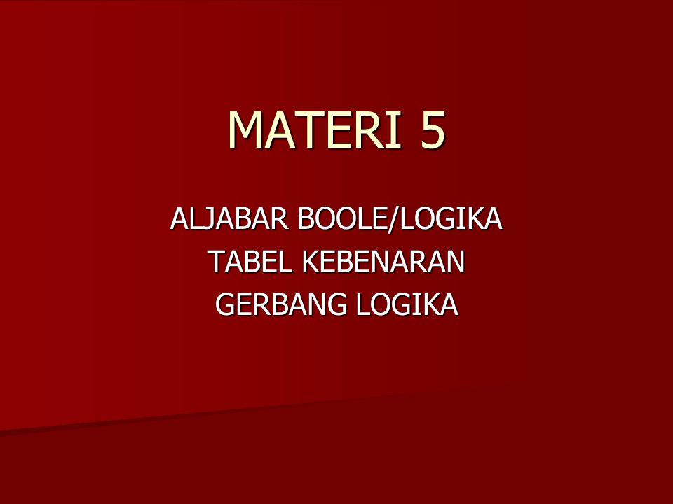 MATERI 5 ALJABAR BOOLE/LOGIKA TABEL KEBENARAN GERBANG LOGIKA