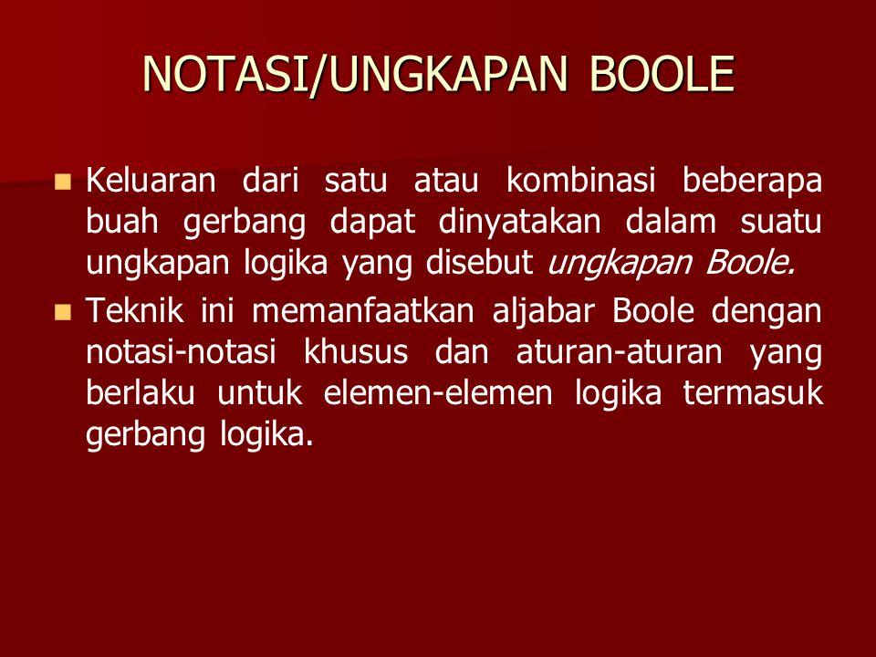 NOTASI/UNGKAPAN BOOLE Keluaran dari satu atau kombinasi beberapa buah gerbang dapat dinyatakan dalam suatu ungkapan logika yang disebut ungkapan Boole