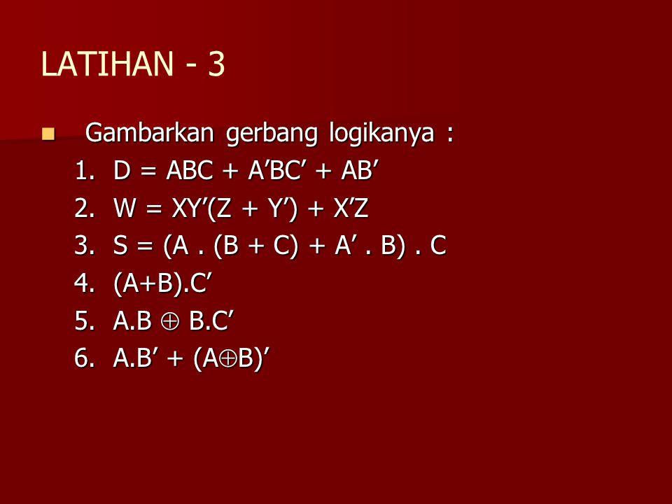 LATIHAN - 3 Gambarkan gerbang logikanya : Gambarkan gerbang logikanya : 1.D = ABC + A'BC' + AB' 2.W = XY'(Z + Y') + X'Z 3.S = (A. (B + C) + A'. B). C
