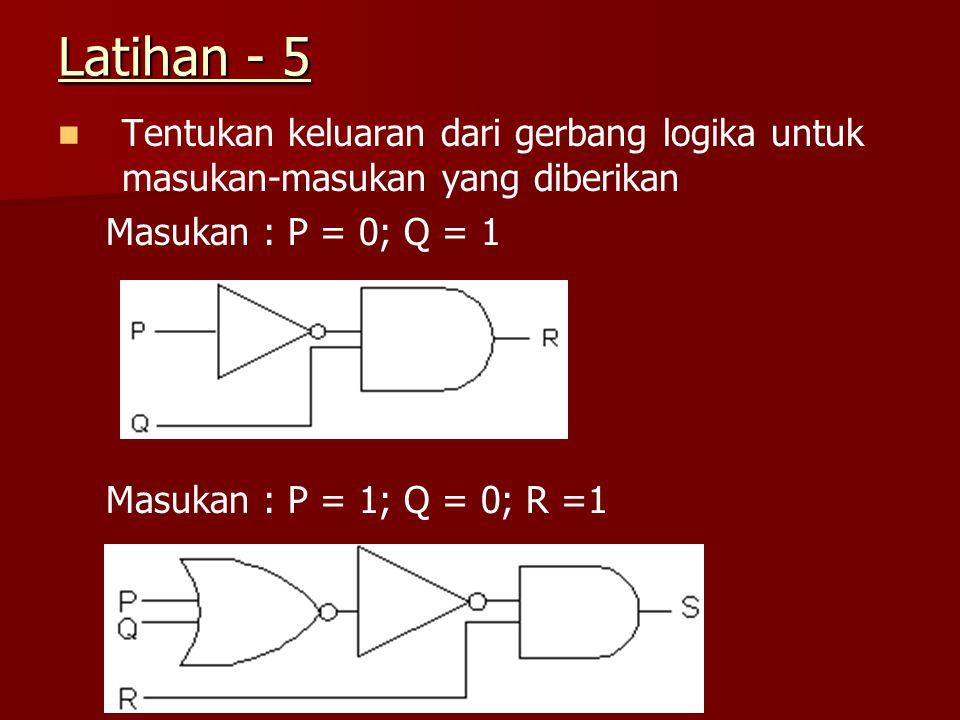 Latihan - 5 Tentukan keluaran dari gerbang logika untuk masukan-masukan yang diberikan Masukan : P = 0; Q = 1 Masukan : P = 1; Q = 0; R =1
