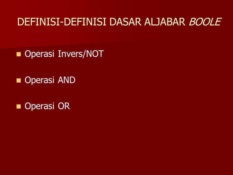 DEFINISI-DEFINISI DASAR ALJABAR BOOLE Operasi Invers/NOT Operasi AND Operasi OR