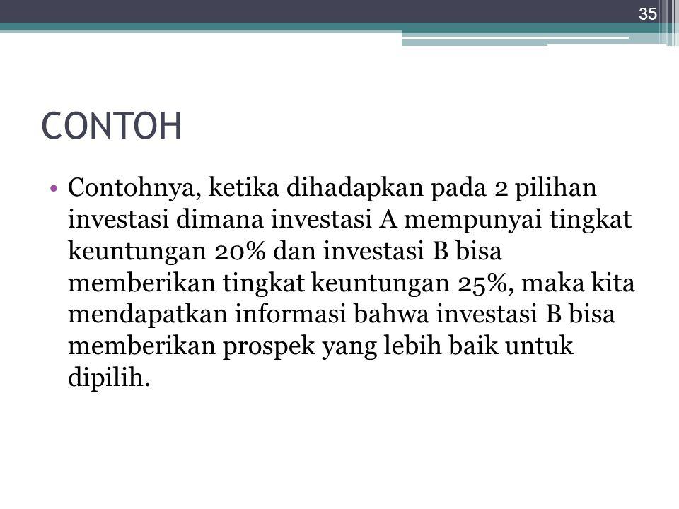 CONTOH Contohnya, ketika dihadapkan pada 2 pilihan investasi dimana investasi A mempunyai tingkat keuntungan 20% dan investasi B bisa memberikan tingk