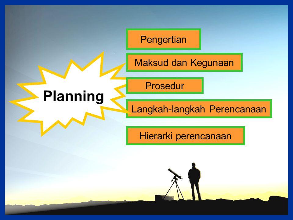 Pengertian Langkah-langkah Perencanaan Hierarki perencanaan Planning Maksud dan Kegunaan Prosedur