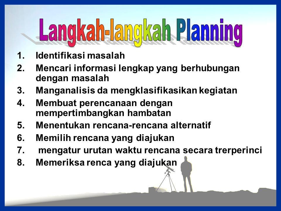1.Identifikasi masalah 2.Mencari informasi lengkap yang berhubungan dengan masalah 3.Manganalisis da mengklasifikasikan kegiatan 4.Membuat perencanaan