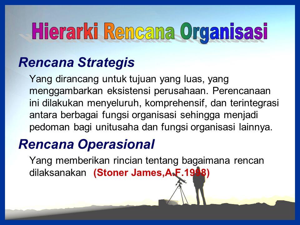 Rencana Strategis Yang dirancang untuk tujuan yang luas, yang menggambarkan eksistensi perusahaan. Perencanaan ini dilakukan menyeluruh, komprehensif,