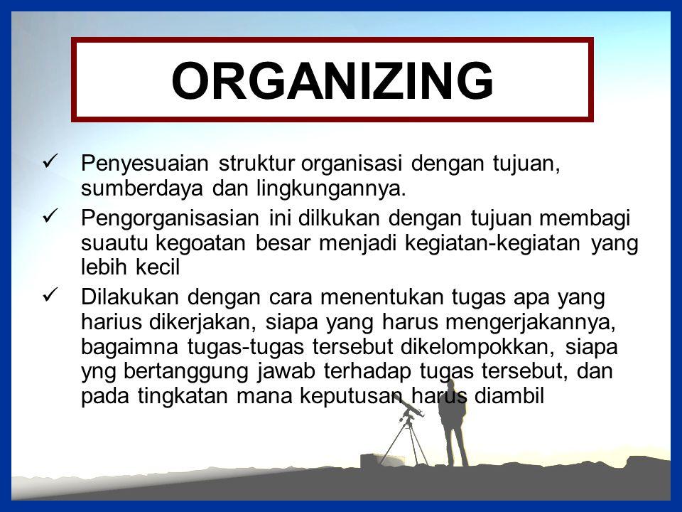 ORGANIZING Penyesuaian struktur organisasi dengan tujuan, sumberdaya dan lingkungannya. Pengorganisasian ini dilkukan dengan tujuan membagi suautu keg