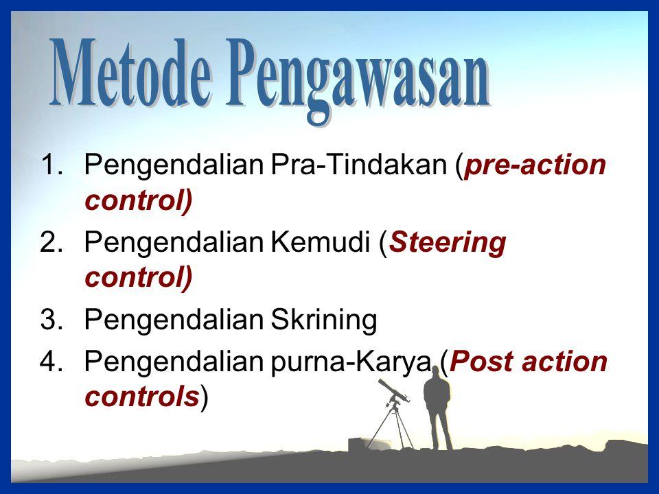 1.Pengendalian Pra-Tindakan (pre-action control) 2.Pengendalian Kemudi (Steering control) 3.Pengendalian Skrining 4.Pengendalian purna-Karya (Post act