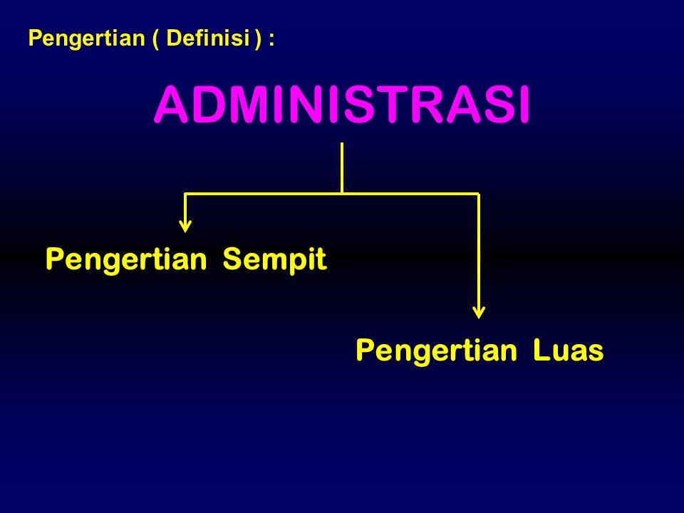 ADMINISTRASI Pengertian ( Definisi ) : Pengertian Sempit Pengertian Luas