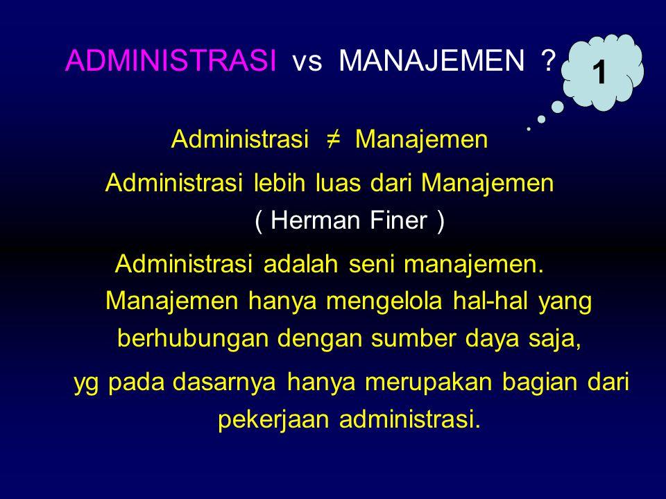 Administrasi ≠ Manajemen Administrasi lebih luas dari Manajemen ( Herman Finer ) Administrasi adalah seni manajemen. Manajemen hanya mengelola hal-hal