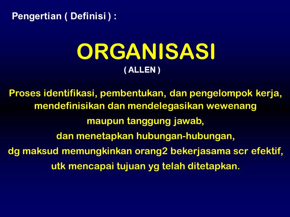 Proses identifikasi, pembentukan, dan pengelompok kerja, mendefinisikan dan mendelegasikan wewenang maupun tanggung jawab, dan menetapkan hubungan-hub