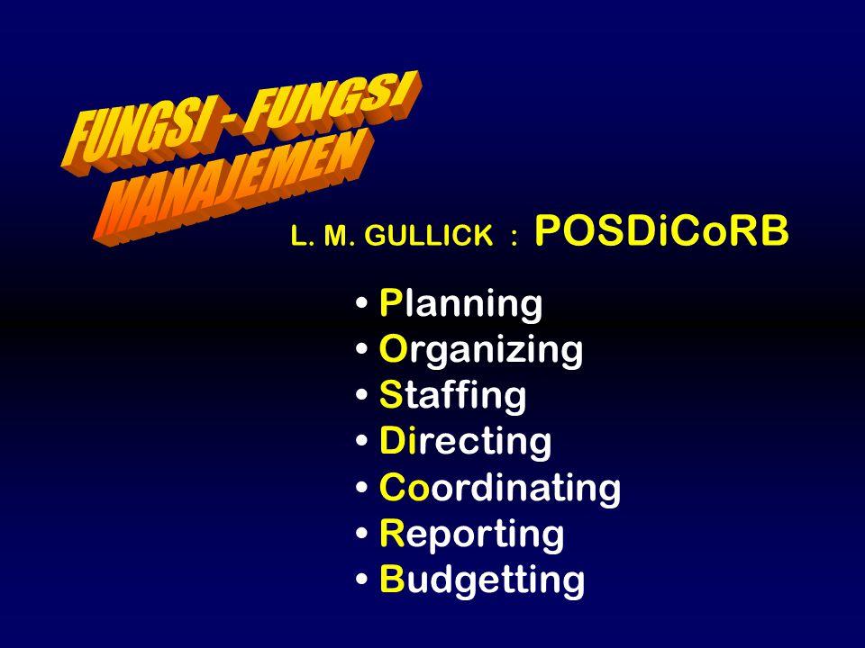 L. M. GULLICK : POSDiCoRB Planning Organizing Staffing Directing Coordinating Reporting Budgetting