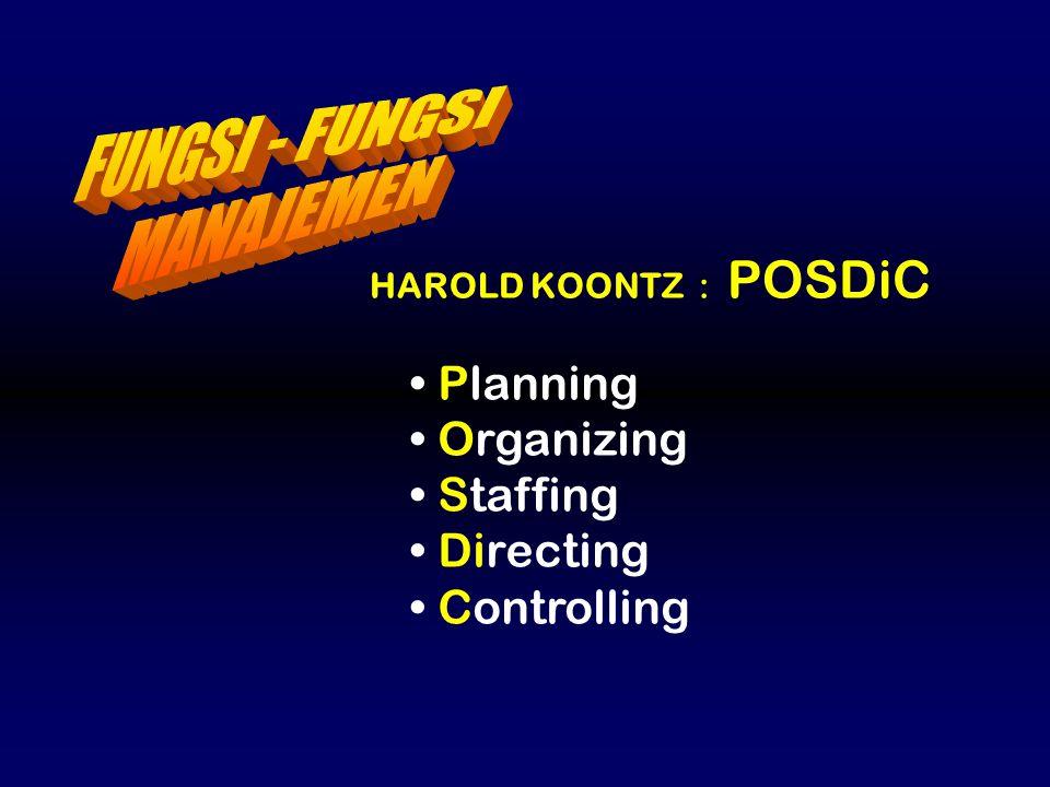 HAROLD KOONTZ : POSDiC Planning Organizing Staffing Directing Controlling