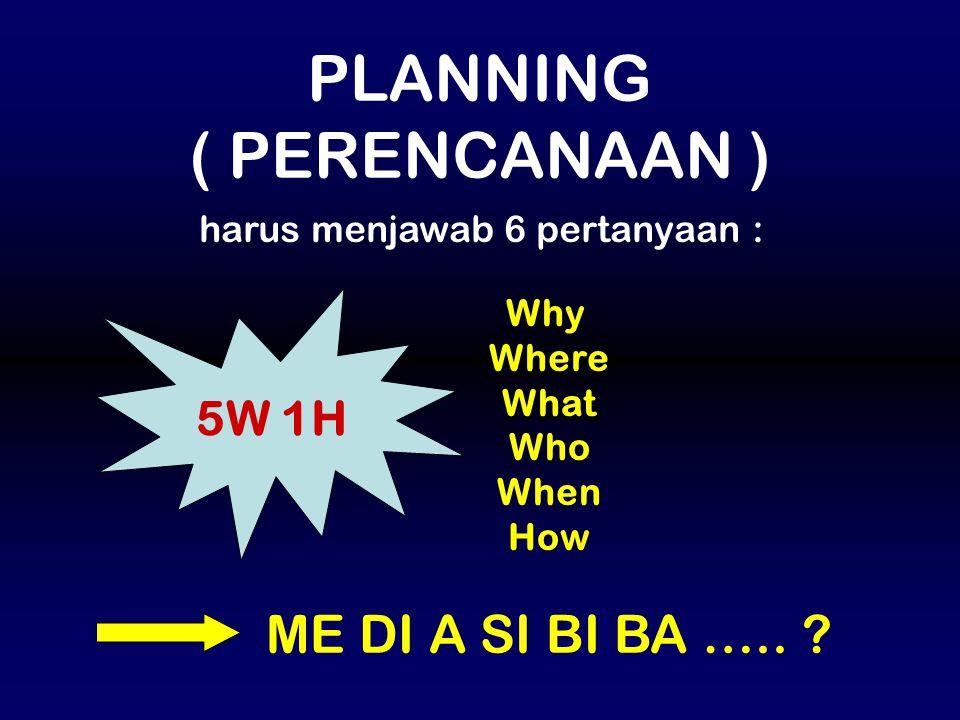 Why Where What Who When How 5W 1H ME DI A SI BI BA ….. ? PLANNING ( PERENCANAAN ) harus menjawab 6 pertanyaan :