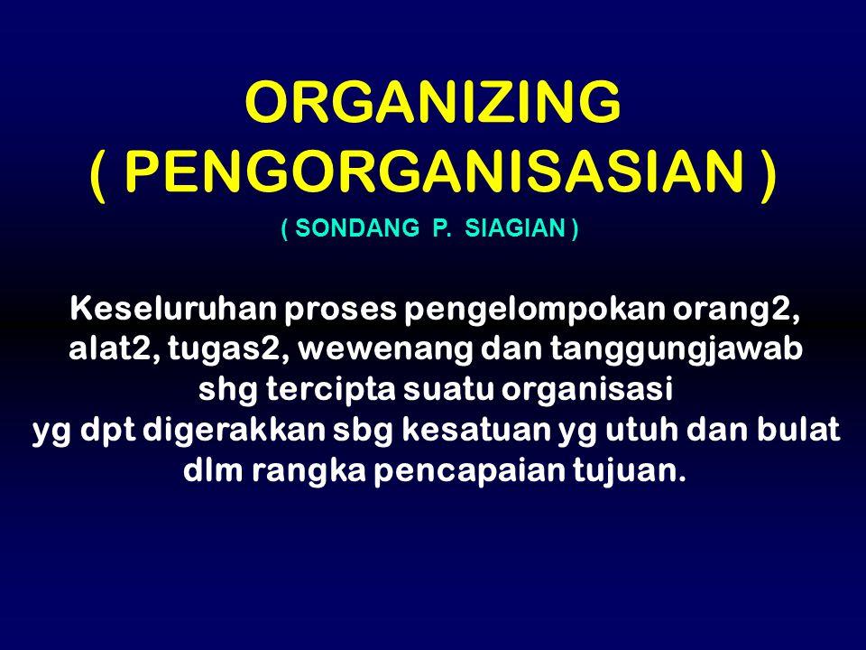 Keseluruhan proses pengelompokan orang2, alat2, tugas2, wewenang dan tanggungjawab shg tercipta suatu organisasi yg dpt digerakkan sbg kesatuan yg utu
