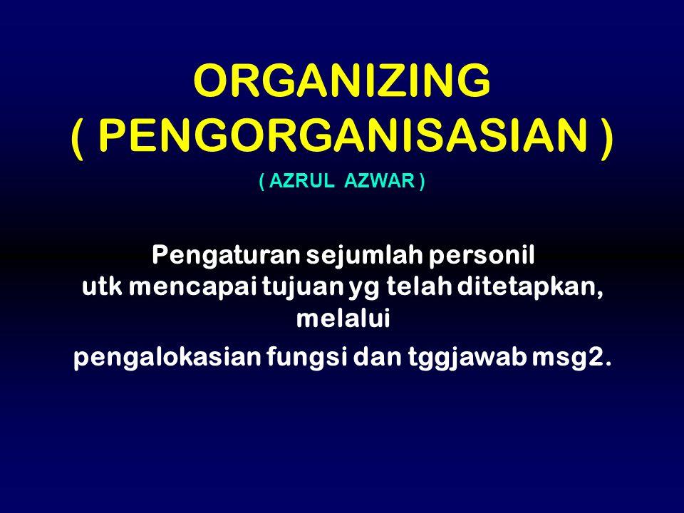 Pengaturan sejumlah personil utk mencapai tujuan yg telah ditetapkan, melalui pengalokasian fungsi dan tggjawab msg2. ( AZRUL AZWAR ) ORGANIZING ( PEN