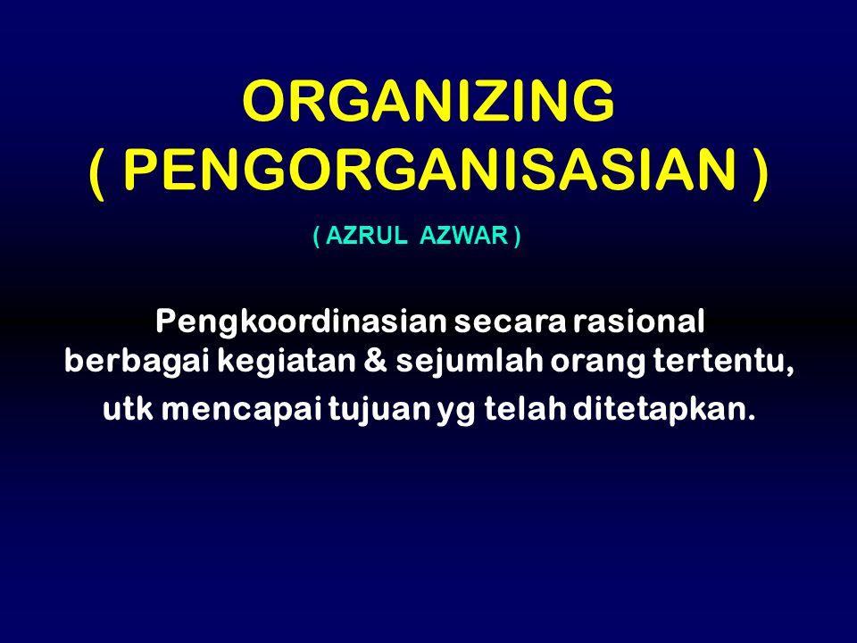 Pengkoordinasian secara rasional berbagai kegiatan & sejumlah orang tertentu, utk mencapai tujuan yg telah ditetapkan. ORGANIZING ( PENGORGANISASIAN )