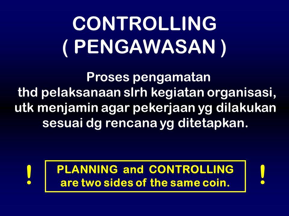 Proses pengamatan thd pelaksanaan slrh kegiatan organisasi, utk menjamin agar pekerjaan yg dilakukan sesuai dg rencana yg ditetapkan. CONTROLLING ( PE