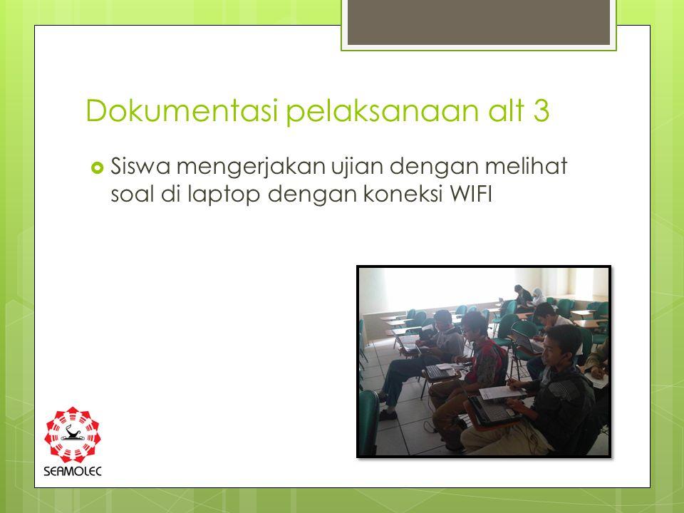 Dokumentasi pelaksanaan alt 3  Siswa mengerjakan ujian dengan melihat soal di laptop dengan koneksi WIFI