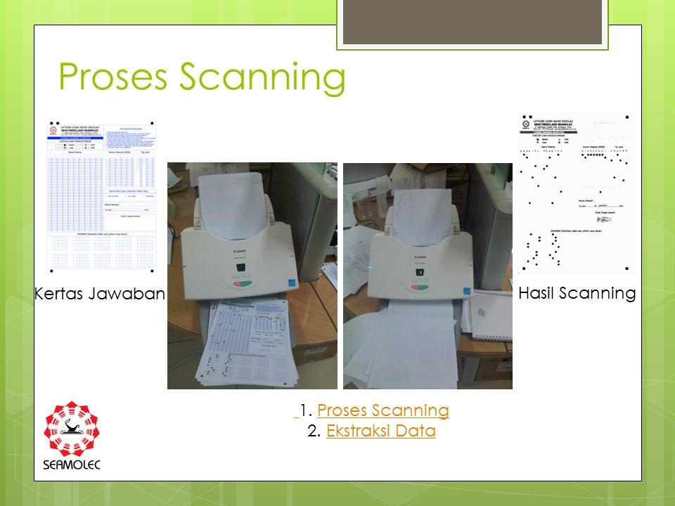 Proses Scanning Kertas Jawaban Hasil Scanning 1. Proses ScanningProses Scanning 2. Ekstraksi DataEkstraksi Data